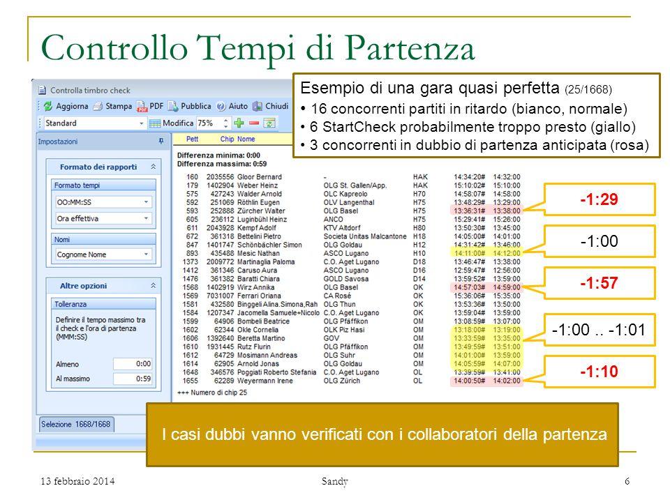 Controllo Tempi di Partenza -1:00 -1:29 -1:57 -1:00..