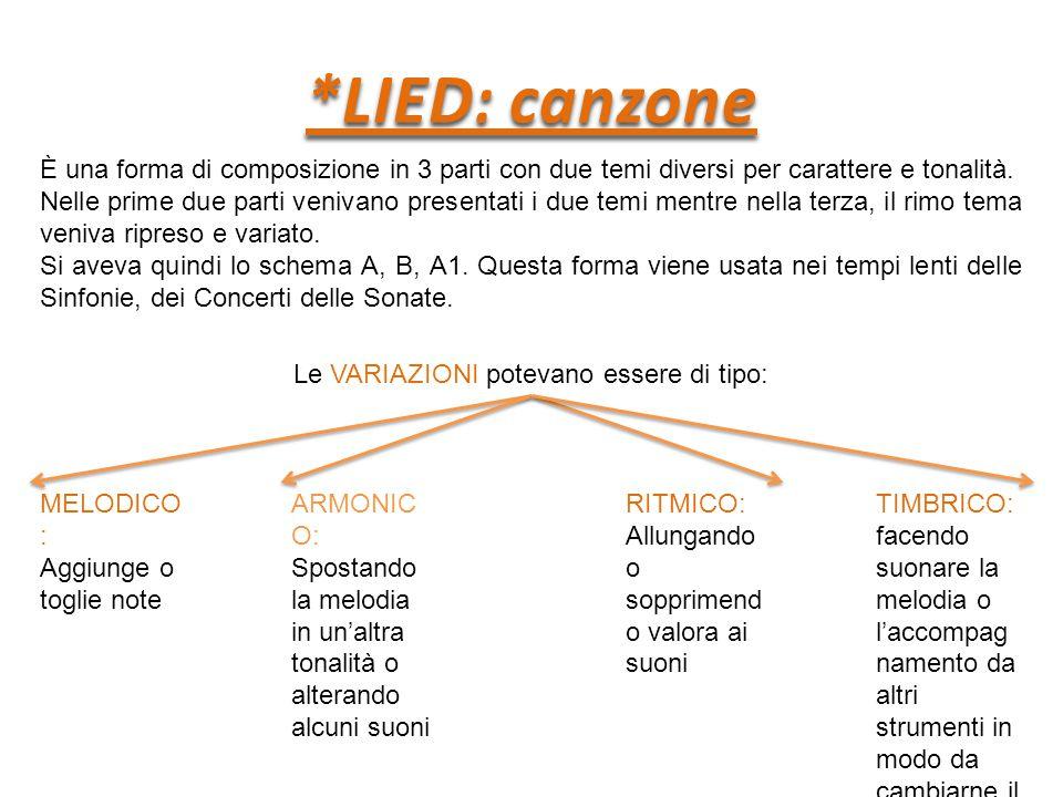 *LIED: canzone È una forma di composizione in 3 parti con due temi diversi per carattere e tonalità.