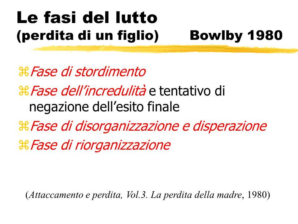 Le fasi del lutto (perdita di un figlio) Bowlby 1980 zFase di stordimento zFase dell'incredulità e tentativo di negazione dell'esito finale zFase di d