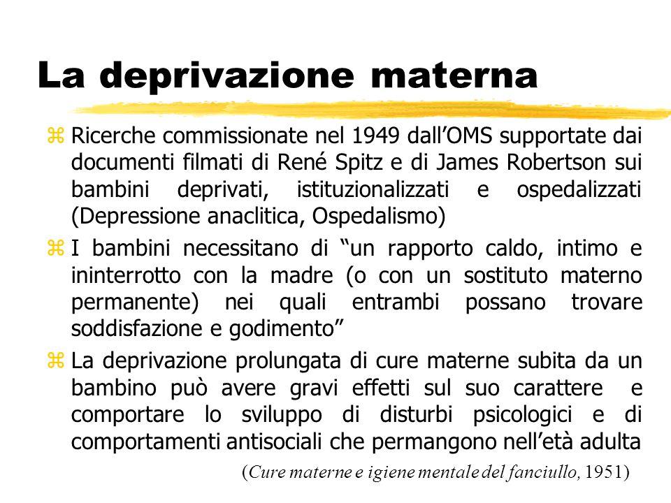 La deprivazione materna zRicerche commissionate nel 1949 dall'OMS supportate dai documenti filmati di René Spitz e di James Robertson sui bambini depr