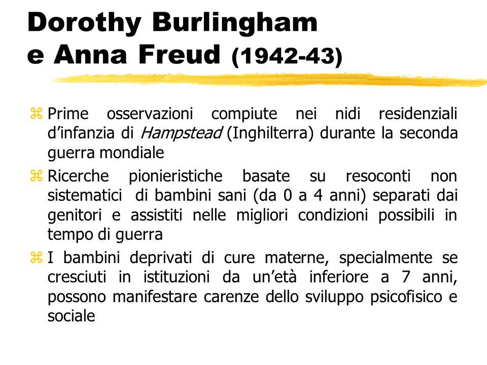 Dorothy Burlingham e Anna Freud (1942-43) zPrime osservazioni compiute nei nidi residenziali d'infanzia di Hampstead (Inghilterra) durante la seconda