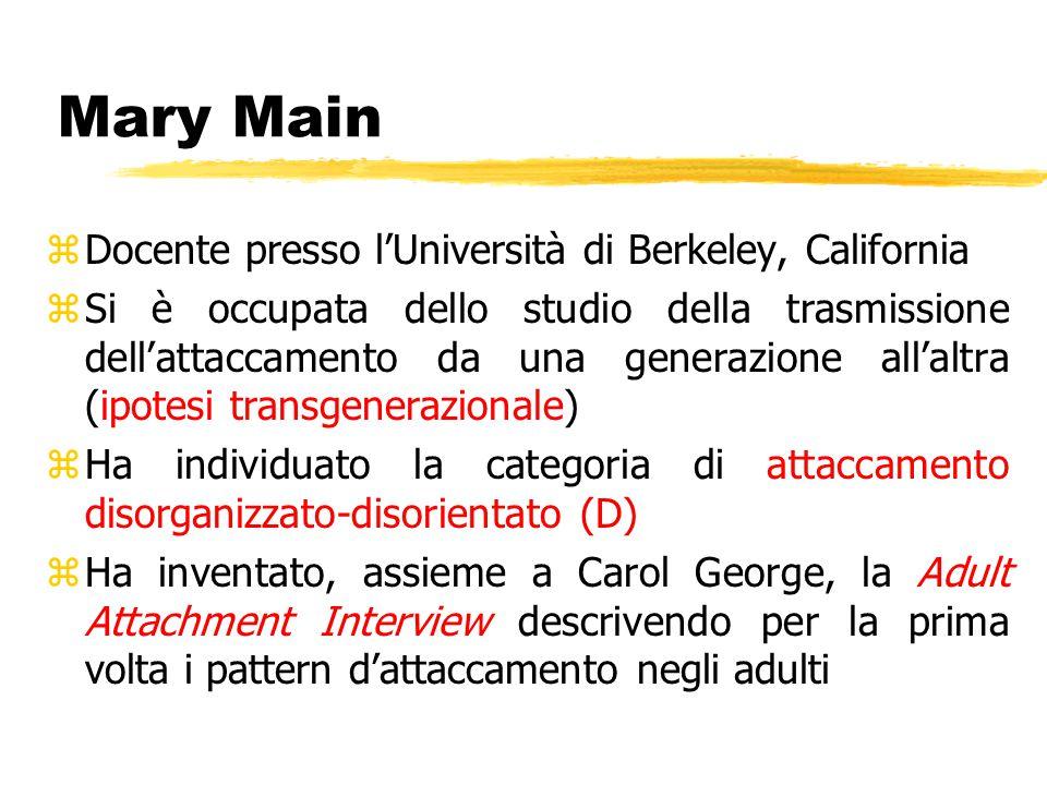 Mary Main zDocente presso l'Università di Berkeley, California zSi è occupata dello studio della trasmissione dell'attaccamento da una generazione all