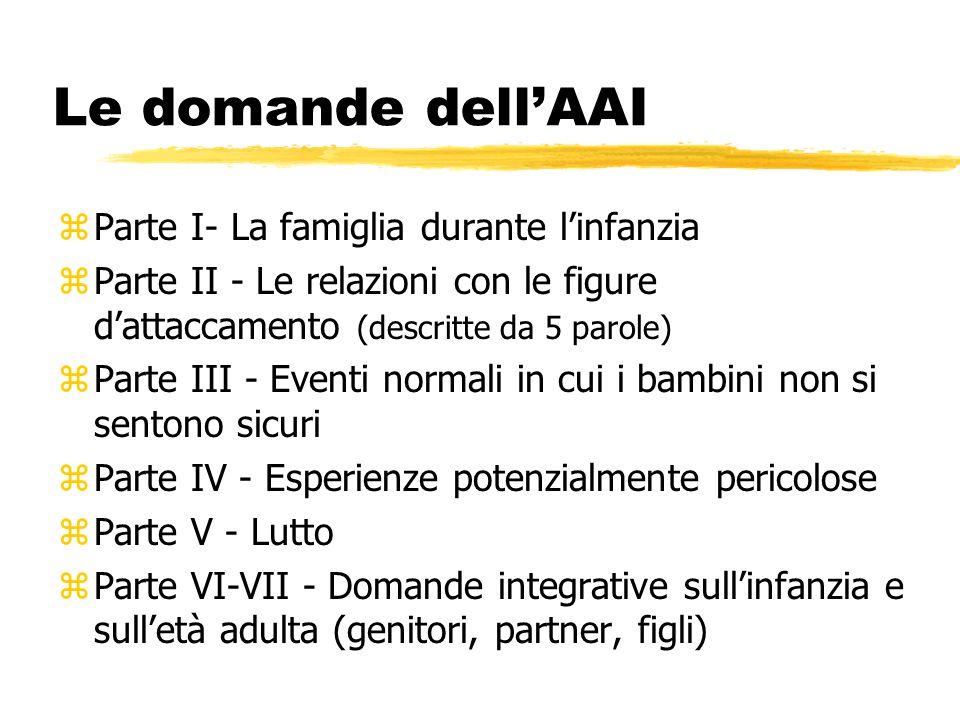 Le domande dell'AAI zParte I- La famiglia durante l'infanzia zParte II - Le relazioni con le figure d'attaccamento (descritte da 5 parole) zParte III