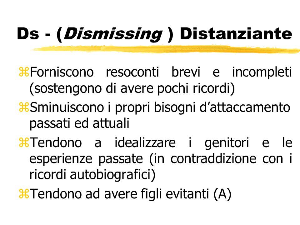 Ds - (Dismissing ) Distanziante zForniscono resoconti brevi e incompleti (sostengono di avere pochi ricordi) zSminuiscono i propri bisogni d'attaccame