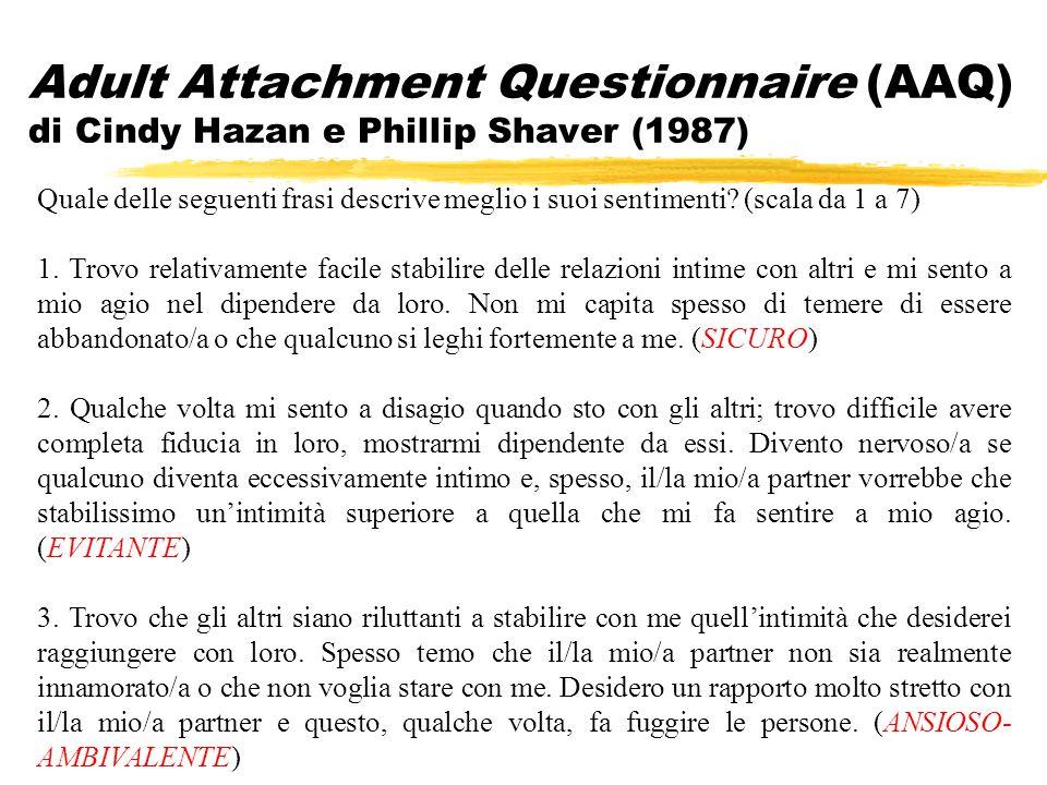Adult Attachment Questionnaire (AAQ) di Cindy Hazan e Phillip Shaver (1987) Quale delle seguenti frasi descrive meglio i suoi sentimenti? (scala da 1