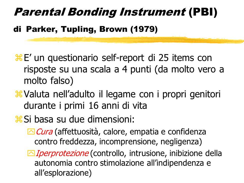 Parental Bonding Instrument (PBI) di Parker, Tupling, Brown (1979) zE' un questionario self-report di 25 items con risposte su una scala a 4 punti (da