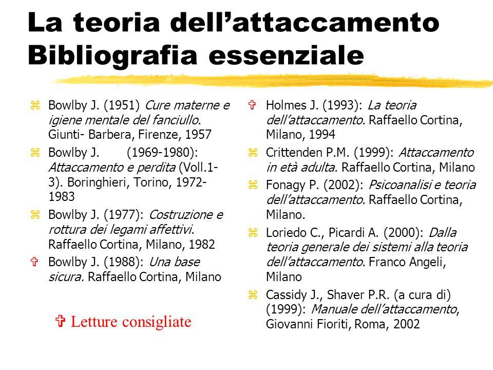 La teoria dell'attaccamento Bibliografia essenziale zBowlby J. (1951) Cure materne e igiene mentale del fanciullo. Giunti- Barbera, Firenze, 1957 zBow