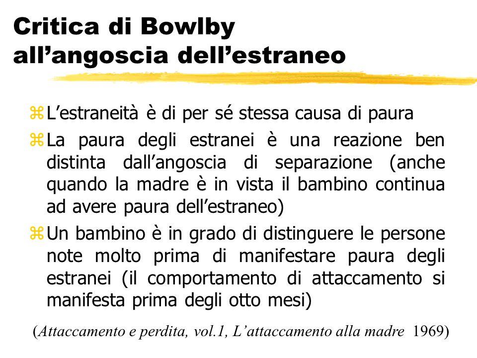 Critica di Bowlby all'angoscia dell'estraneo zL'estraneità è di per sé stessa causa di paura zLa paura degli estranei è una reazione ben distinta dall