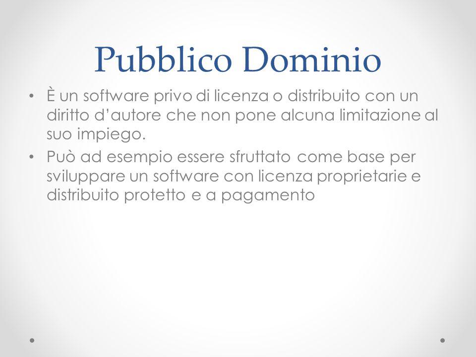 Pubblico Dominio È un software privo di licenza o distribuito con un diritto d'autore che non pone alcuna limitazione al suo impiego. Può ad esempio e