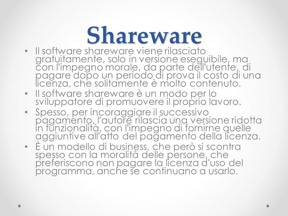 Shareware Il software shareware viene rilasciato gratuitamente, solo in versione eseguibile, ma con l'impegno morale, da parte dell'utente, di pagare