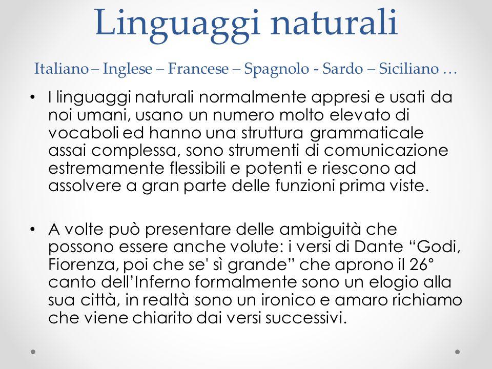 Linguaggi naturali Italiano – Inglese – Francese – Spagnolo - Sardo – Siciliano … I linguaggi naturali normalmente appresi e usati da noi umani, usano