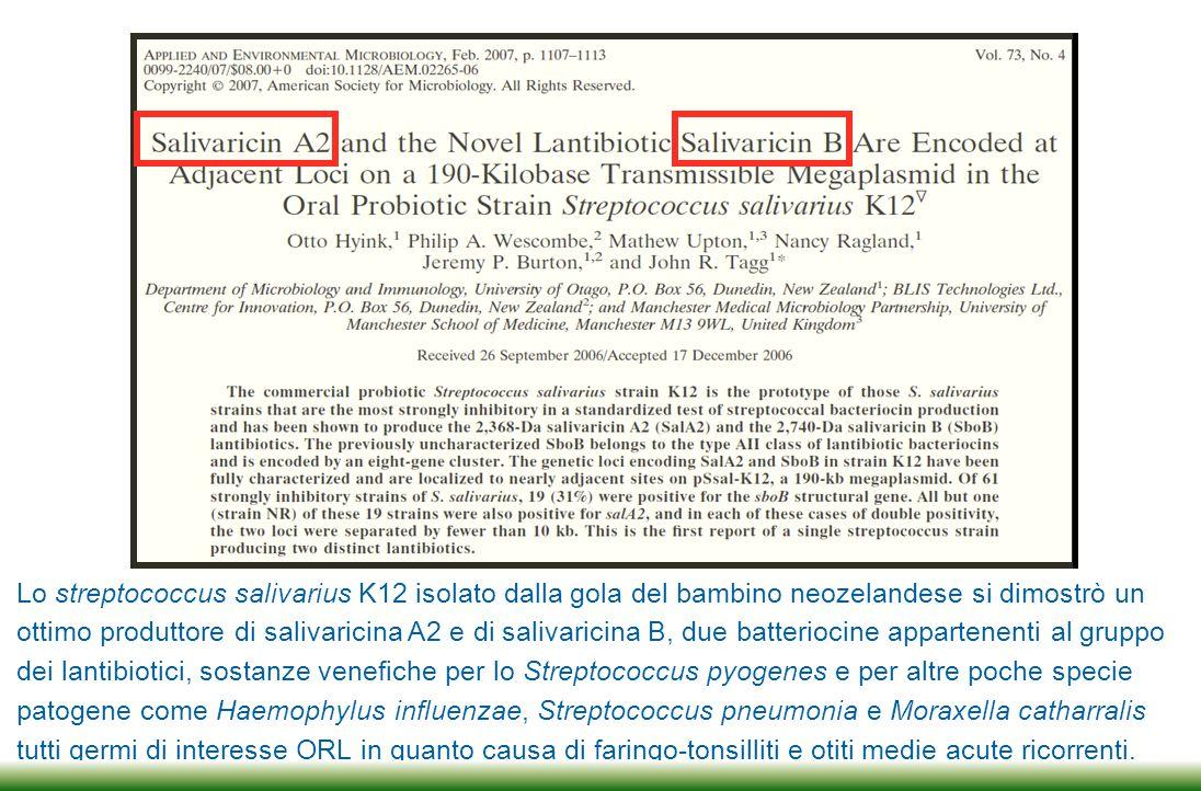 Le 2 salivaricine, A2 e B, interagendo con il Lipide II, tipicamente espresso sulla membrana di molte specie patogene tra cui lo Streptococcus pyogenes, creano un poro di membrana attraverso il quale fuoriesce il citoplasma batterico determinando la morte del patogeno.