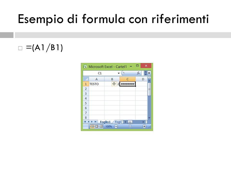 =(A1/B1) Esempio di formula con riferimenti
