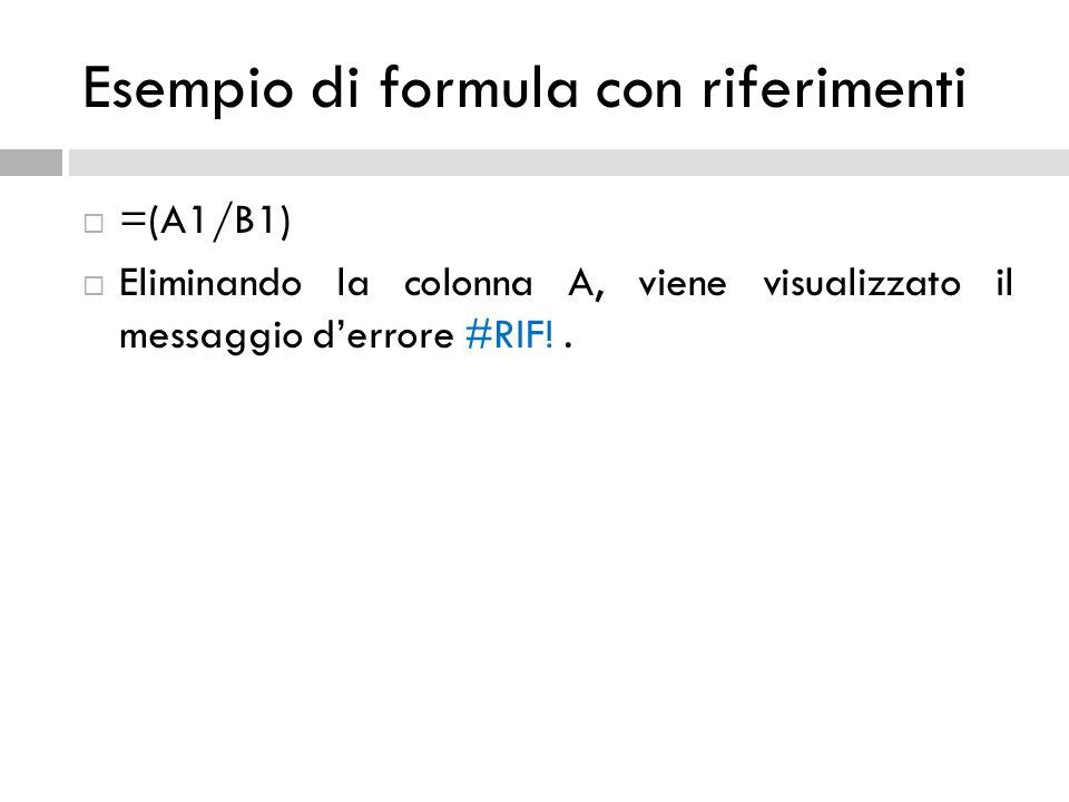  =(A1/B1)  Eliminando la colonna A, viene visualizzato il messaggio d'errore #RIF!.