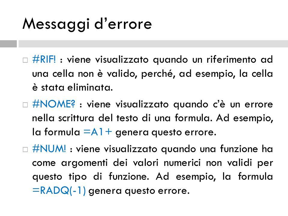 Messaggi d'errore  #RIF! : viene visualizzato quando un riferimento ad una cella non è valido, perché, ad esempio, la cella è stata eliminata.  #NOM