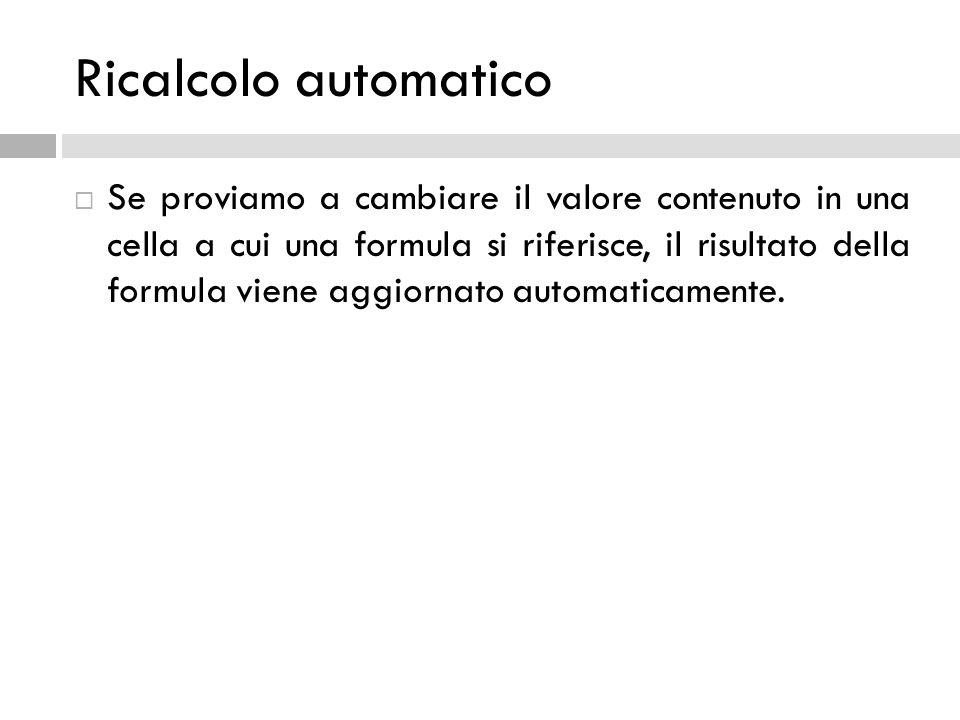 Ricalcolo automatico  Se proviamo a cambiare il valore contenuto in una cella a cui una formula si riferisce, il risultato della formula viene aggior
