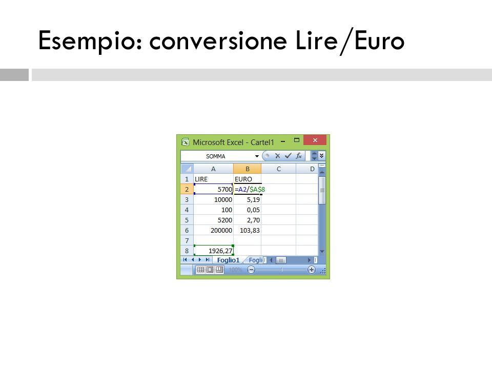 Esempio: conversione Lire/Euro