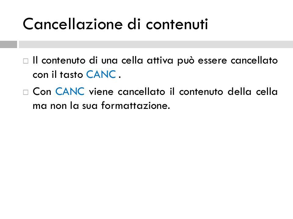 Cancellazione di contenuti  Il contenuto di una cella attiva può essere cancellato con il tasto CANC.  Con CANC viene cancellato il contenuto della