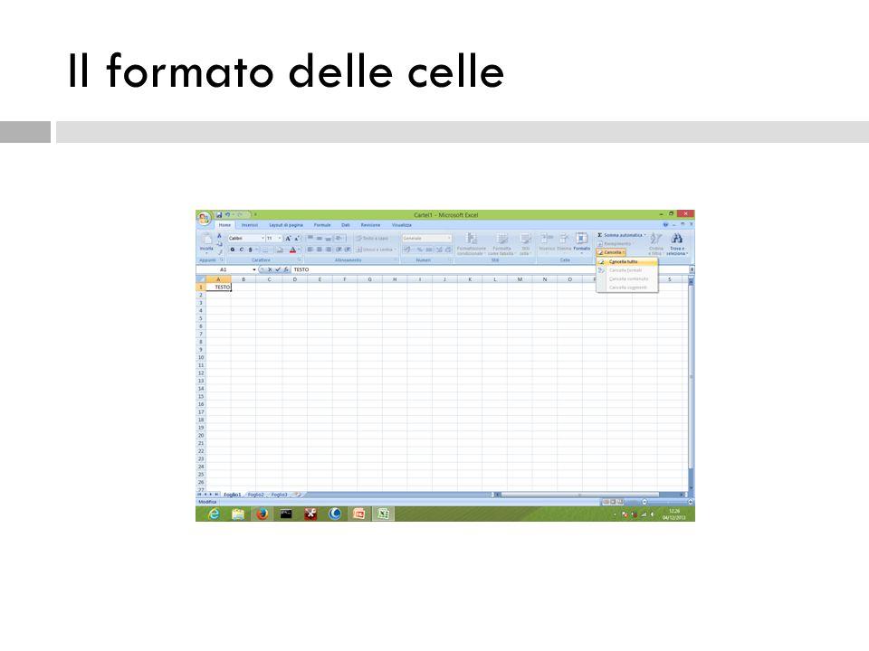 Ricalcolo automatico  Se proviamo a cambiare il valore contenuto in una cella a cui una formula si riferisce, il risultato della formula viene aggiornato automaticamente.