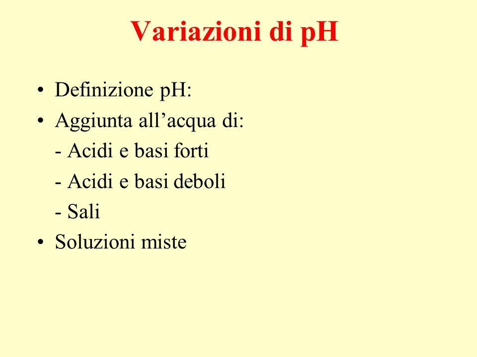Variazioni di pH Definizione pH: Aggiunta all'acqua di: - Acidi e basi forti - Acidi e basi deboli - Sali Soluzioni miste