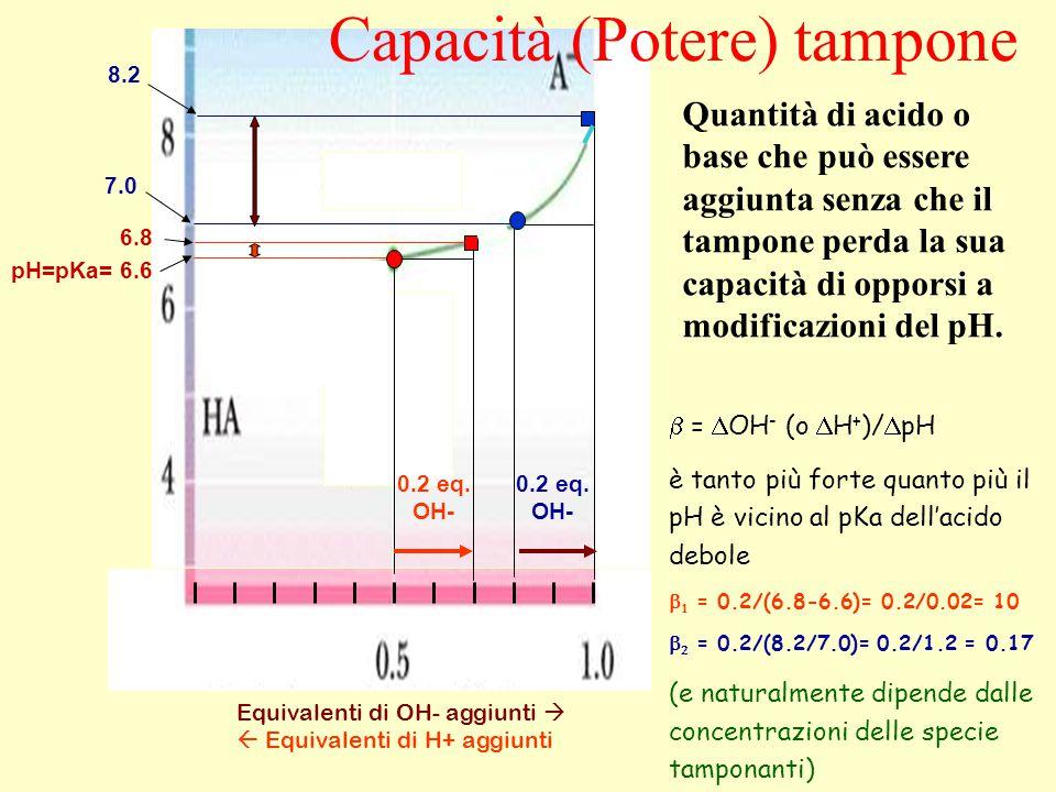 Equivalenti di OH- aggiunti   Equivalenti di H+ aggiunti  =  OH - (o  H + )/  pH è tanto più forte quanto più il pH è vicino al pKa dell'acido debole   = 0.2/(6.8-6.6)= 0.2/0.02= 10   = 0.2/(8.2/7.0)= 0.2/1.2 = 0.17 (e naturalmente dipende dalle concentrazioni delle specie tamponanti) pH=pKa= 6.6 6.8 7.0 8.2 0.2 eq.