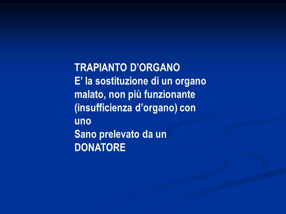 TRAPIANTO D'ORGANO E' la sostituzione di un organo malato, non più funzionante (insufficienza d'organo) con uno Sano prelevato da un DONATORE