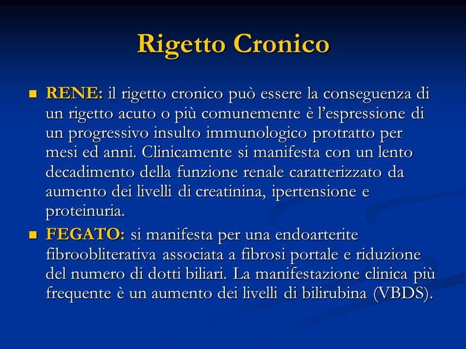 Rigetto Cronico RENE: il rigetto cronico può essere la conseguenza di un rigetto acuto o più comunemente è l'espressione di un progressivo insulto immunologico protratto per mesi ed anni.
