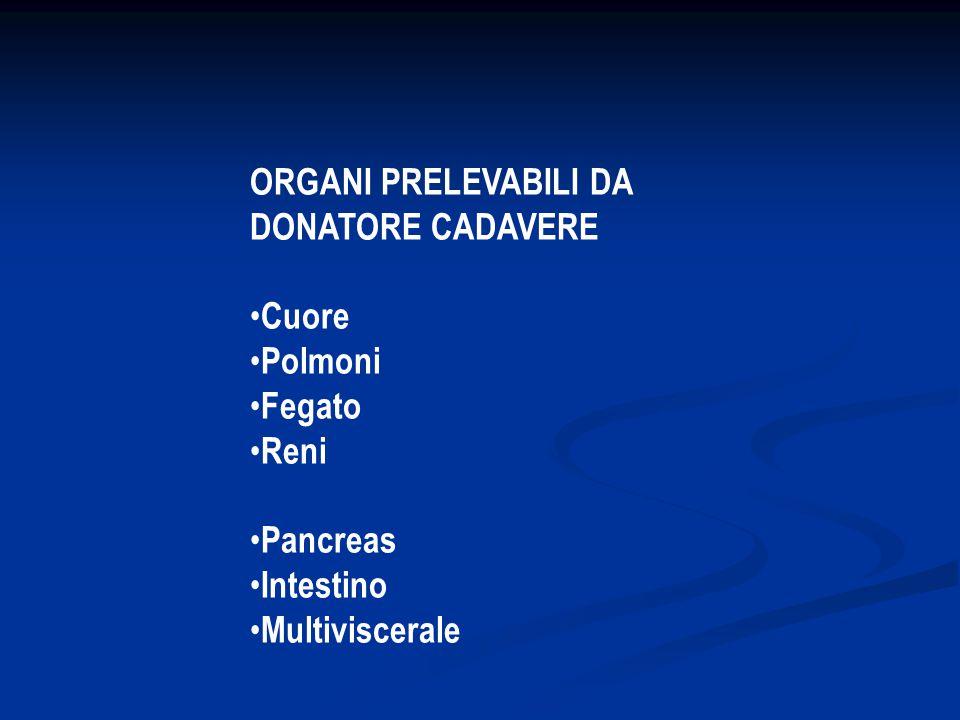 ORGANI PRELEVABILI DA DONATORE CADAVERE Cuore Polmoni Fegato Reni Pancreas Intestino Multiviscerale