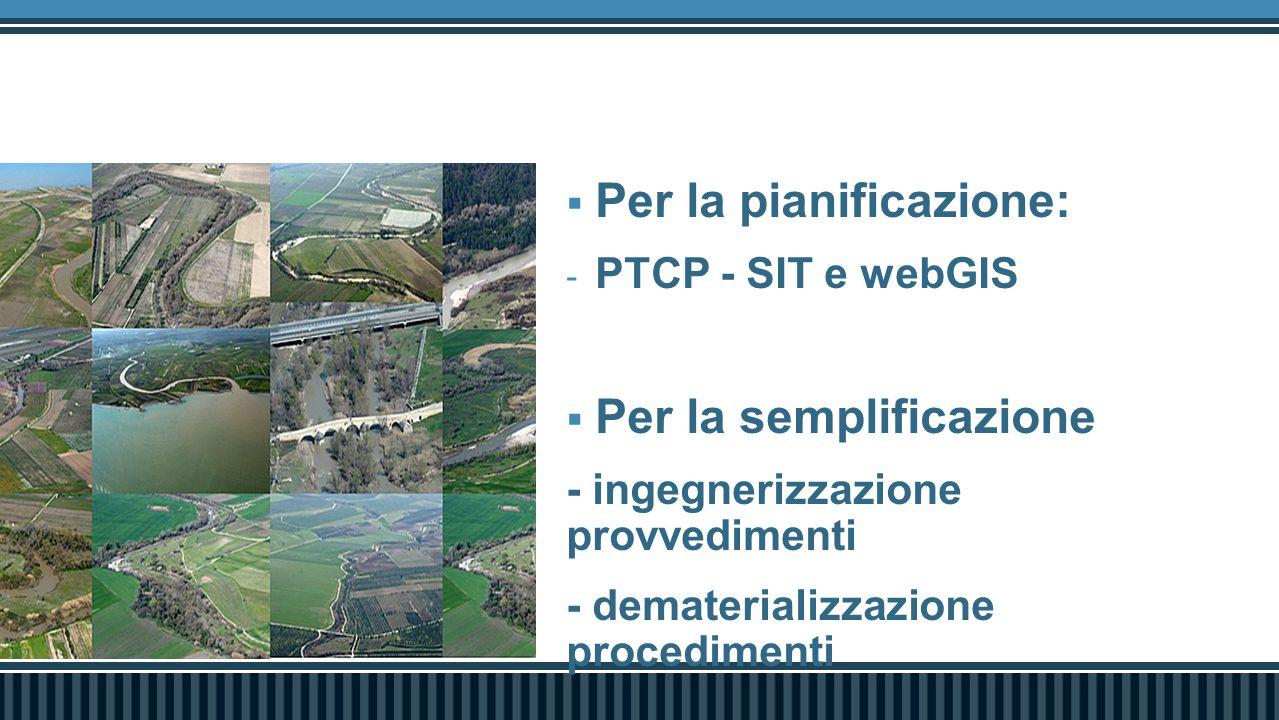  Per la pianificazione: - PTCP - SIT e webGIS  Per la semplificazione - ingegnerizzazione provvedimenti - dematerializzazione procedimenti