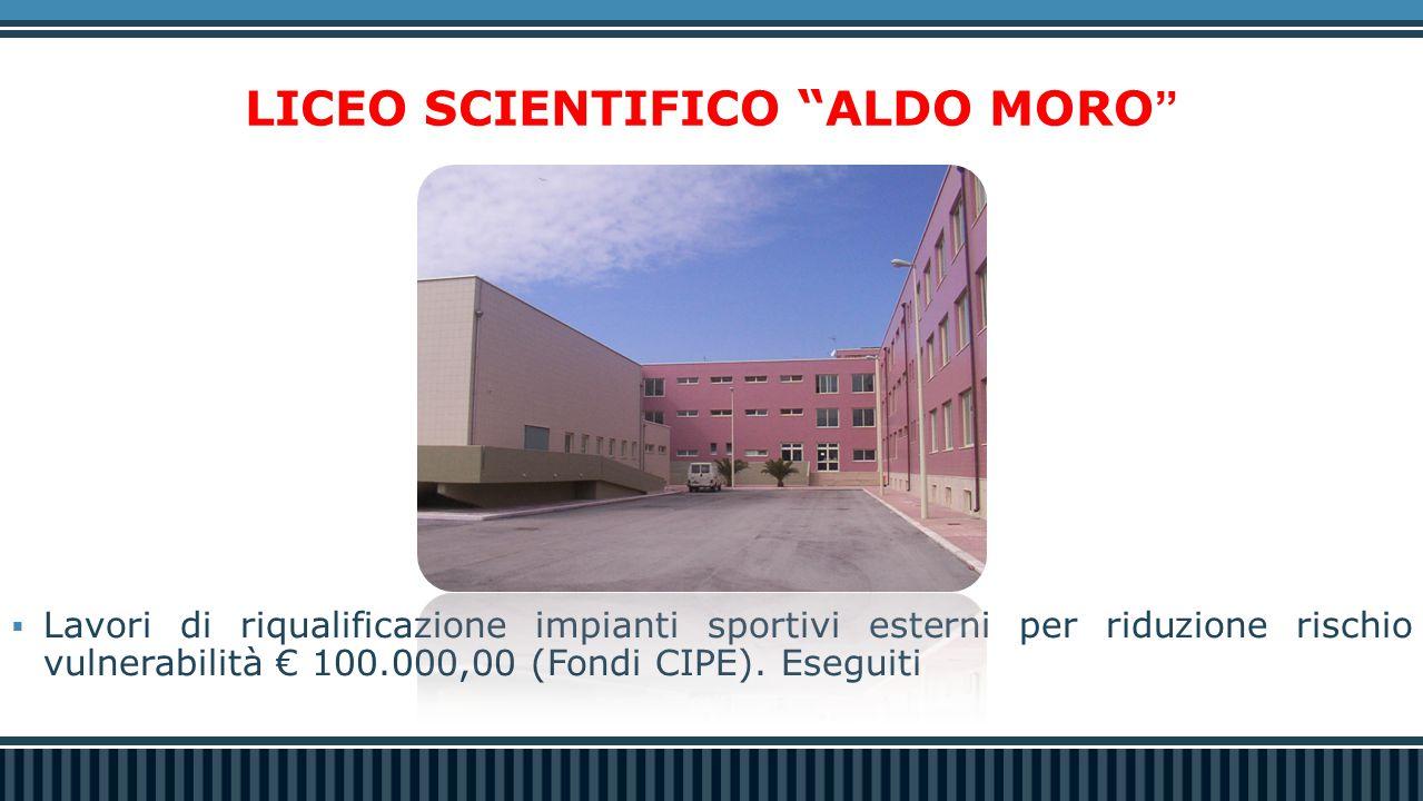 LICEO SCIENTIFICO ALDO MORO  Lavori di riqualificazione impianti sportivi esterni per riduzione rischio vulnerabilità € 100.000,00 (Fondi CIPE).
