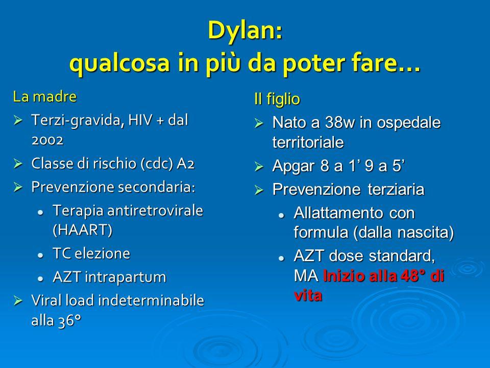 Dylan: qualcosa in più da poter fare… La madre  Terzi-gravida, HIV + dal 2002  Classe di rischio (cdc) A2  Prevenzione secondaria: Terapia antiretr