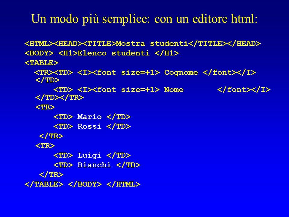 Un modo più semplice: con un editore html: Mostra studenti Elenco studenti Cognome Nome Mario Rossi Luigi Bianchi