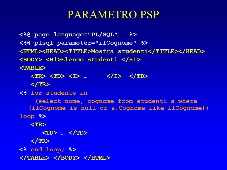 PARAMETRO PSP Mostra studenti Elenco studenti … <% for studente in (select nome, cognome from studenti s where (ilCognome is null or s.Cognome like ilCognome)) loop %> …