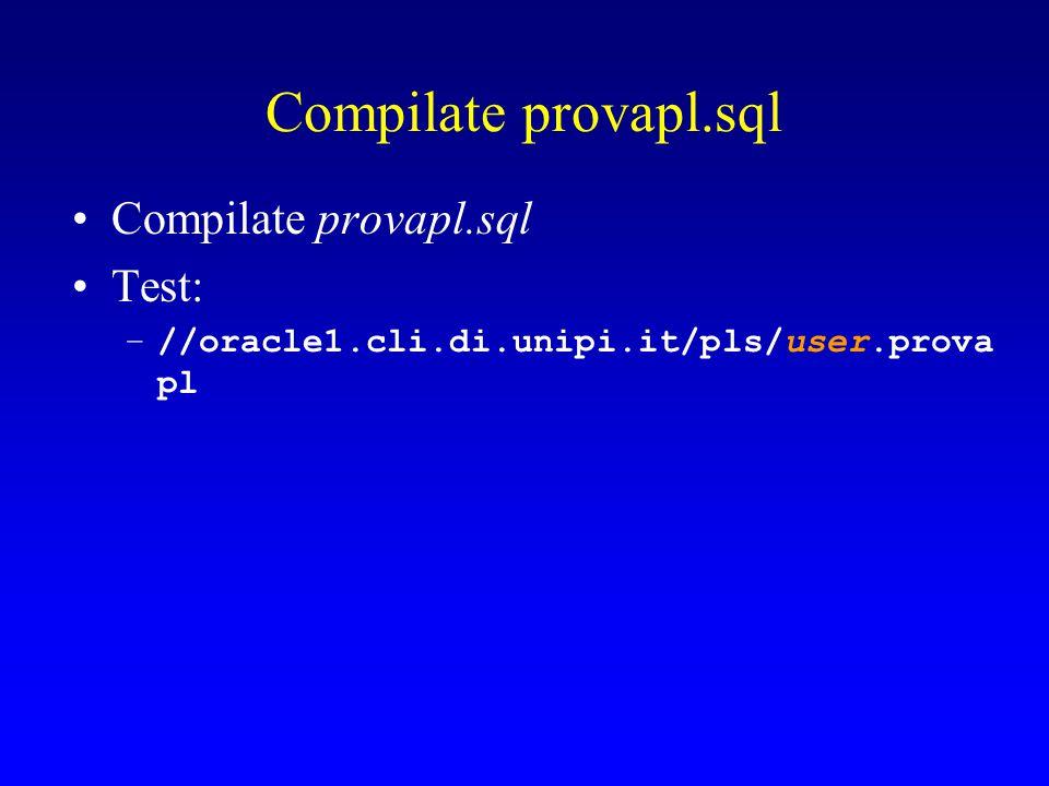 Compilate provapl.sql Test: –//oracle1.cli.di.unipi.it/pls/user.prova pl