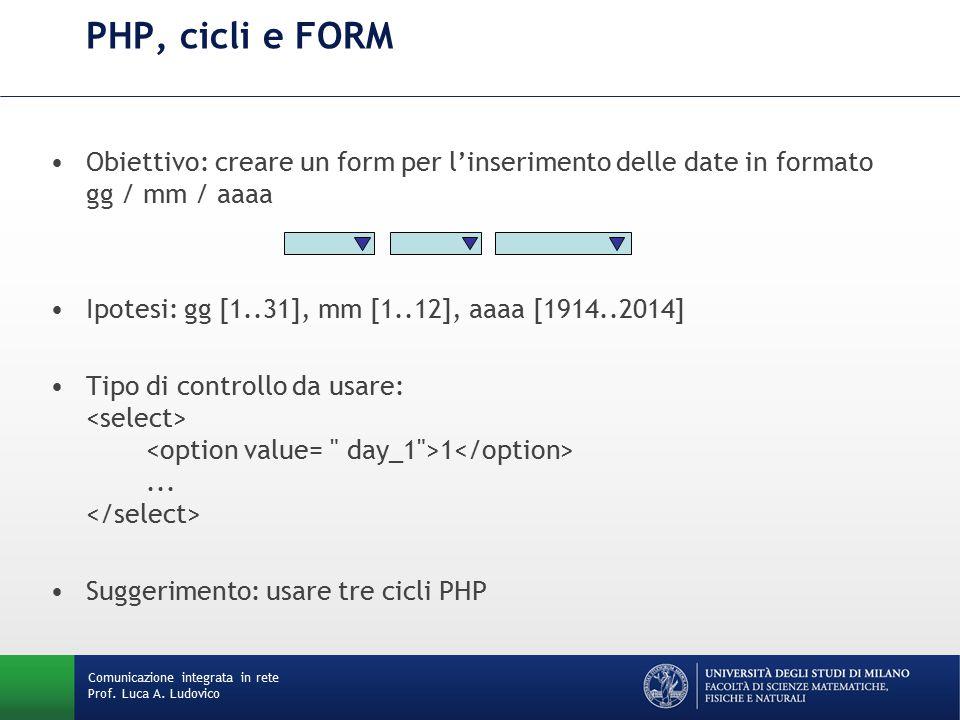 Comunicazione integrata in rete Prof. Luca A. Ludovico PHP, cicli e FORM Obiettivo: creare un form per l'inserimento delle date in formato gg / mm / a