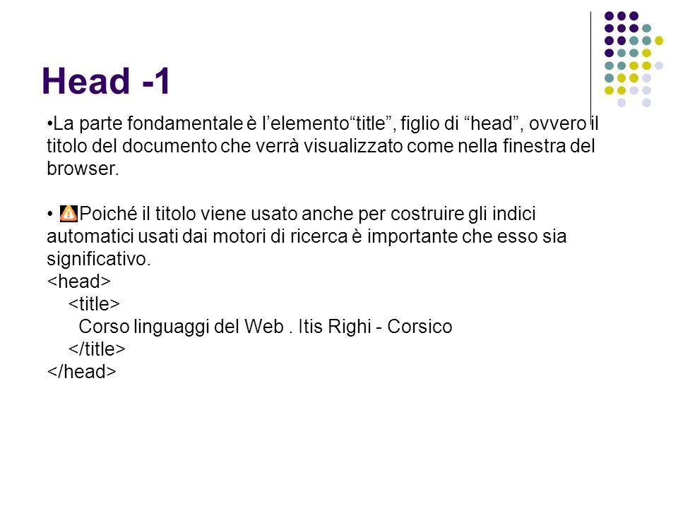 """Head -1 La parte fondamentale è l'elemento""""title"""", figlio di """"head"""", ovvero il titolo del documento che verrà visualizzato come nella finestra del bro"""