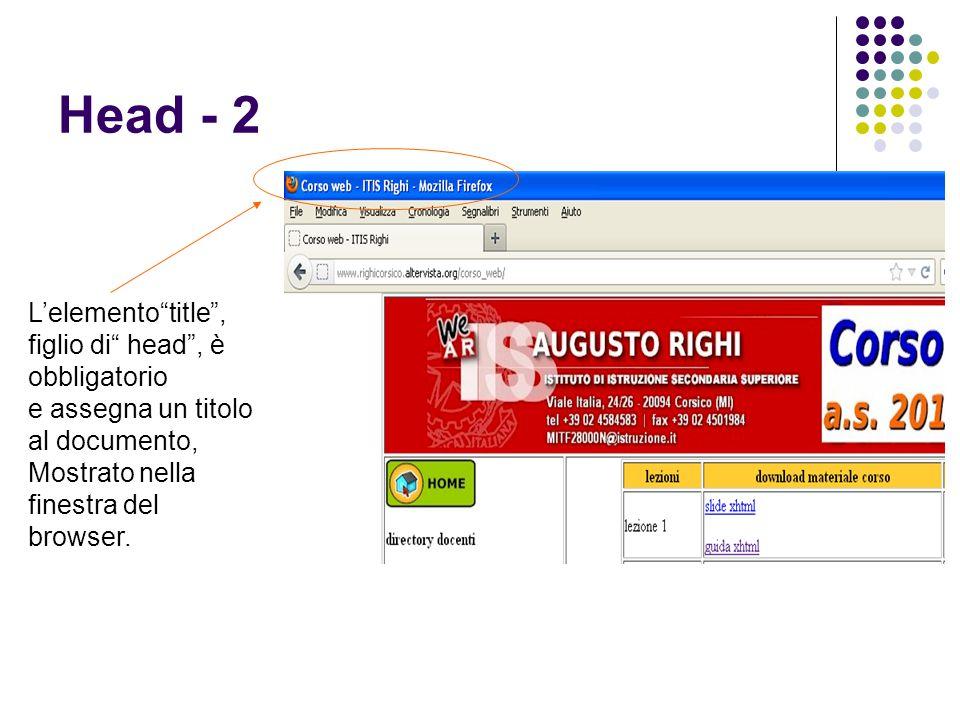 """Head - 2 L'elemento""""title"""", figlio di"""" head"""", è obbligatorio e assegna un titolo al documento, Mostrato nella finestra del browser."""