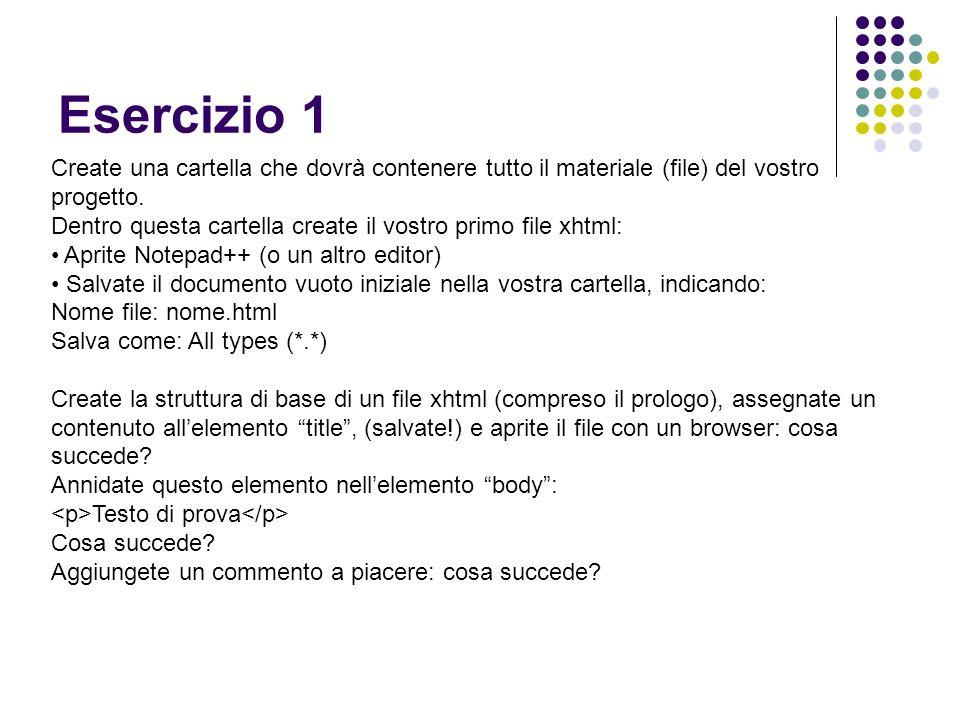 Esercizio 1 Create una cartella che dovrà contenere tutto il materiale (file) del vostro progetto.