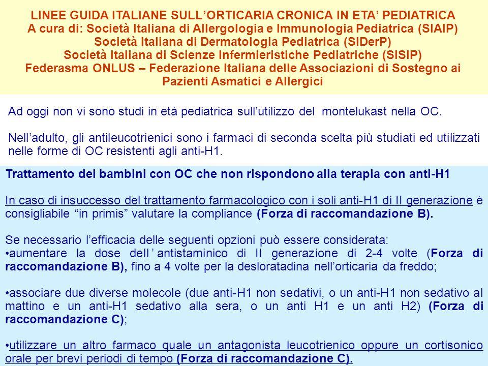 LINEE GUIDA ITALIANE SULL'ORTICARIA CRONICA IN ETA' PEDIATRICA A cura di: Società Italiana di Allergologia e Immunologia Pediatrica (SIAIP) Società It