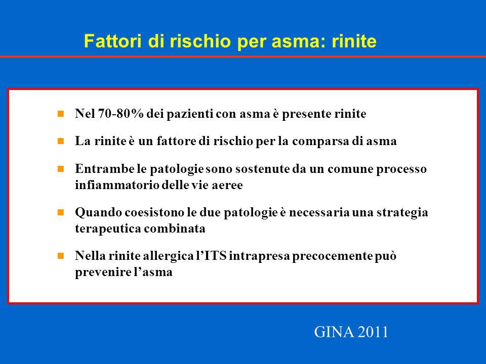 Fattori di rischio per asma: rinite Nel 70-80% dei pazienti con asma è presente rinite La rinite è un fattore di rischio per la comparsa di asma Entra