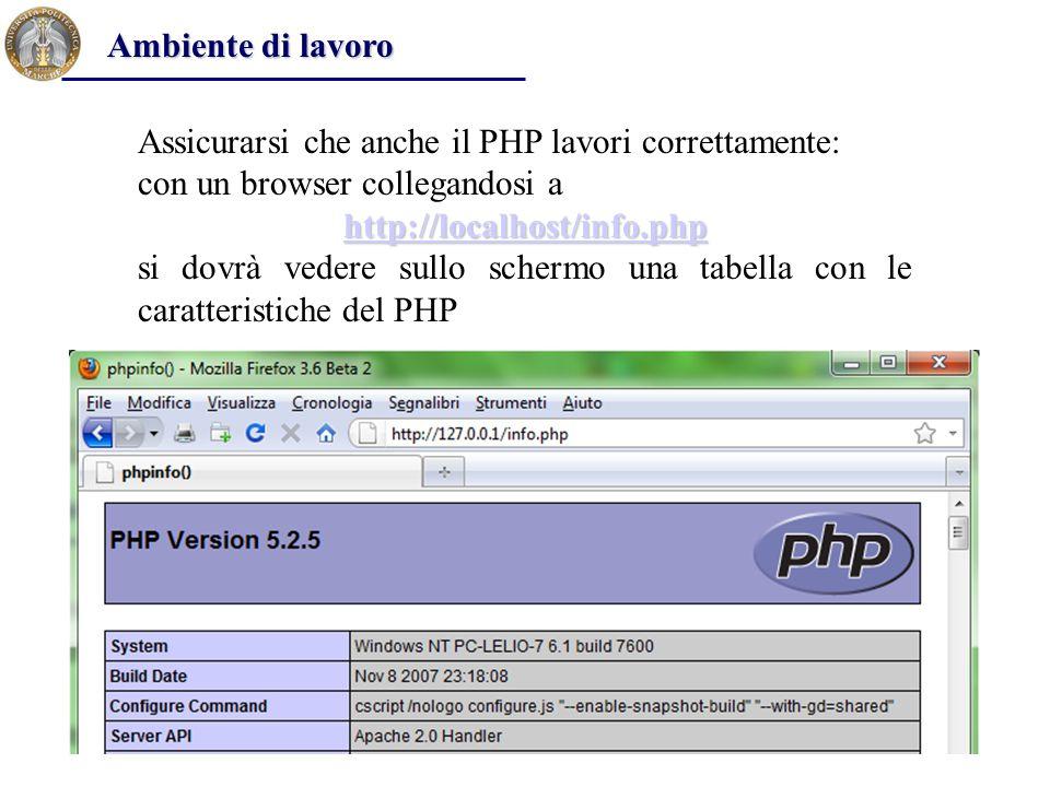 Assicurarsi che anche il PHP lavori correttamente: con un browser collegandosi a http://localhost/info.php si dovrà vedere sullo schermo una tabella con le caratteristiche del PHP Ambiente di lavoro