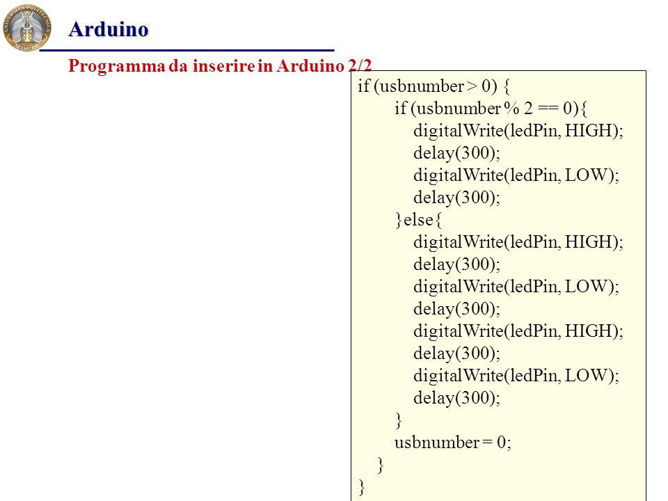 Procedimento per avviare il processo Arduino Copiare il file php_arduino.php nella cartella seguente: C:\programmi\Apache Software Foundation\Apache2.2\htdocs.