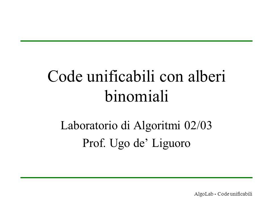 AlgoLab - Code unificabili Code unificabili con alberi binomiali Laboratorio di Algoritmi 02/03 Prof. Ugo de' Liguoro