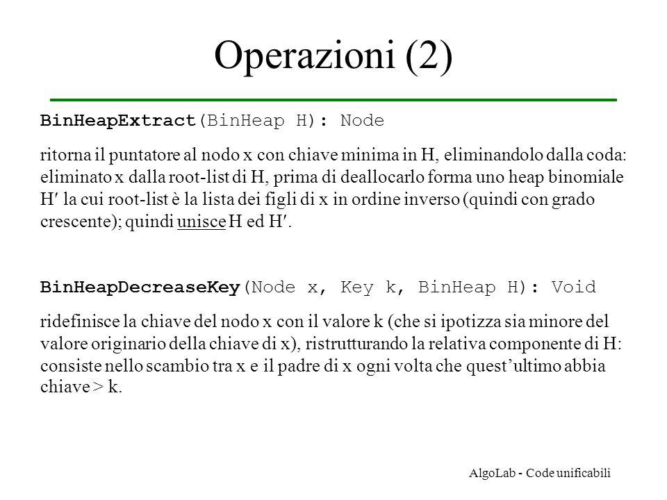 AlgoLab - Code unificabili Operazioni (2) BinHeapExtract(BinHeap H): Node ritorna il puntatore al nodo x con chiave minima in H, eliminandolo dalla co