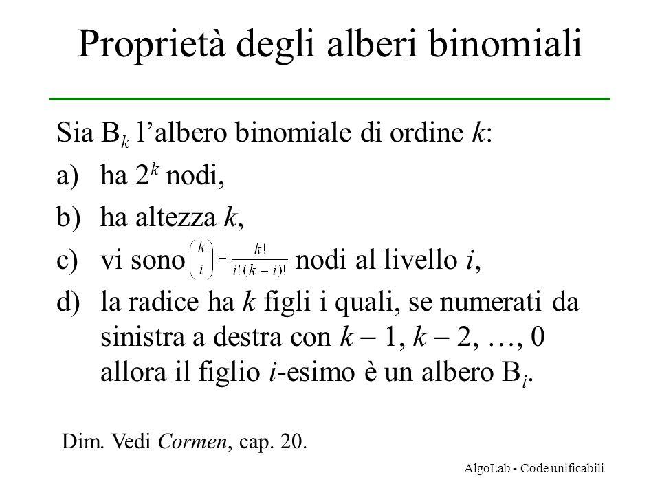 AlgoLab - Code unificabili Proprietà degli alberi binomiali Sia B k l'albero binomiale di ordine k: a)ha 2 k nodi, b)ha altezza k, c)vi sono nodi al l