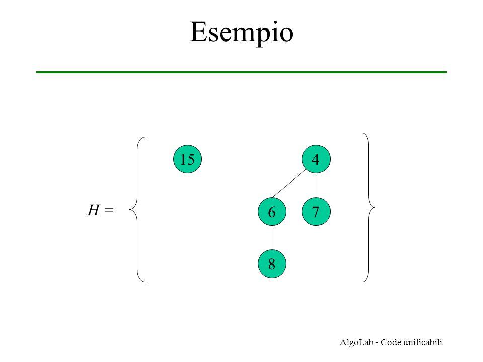 AlgoLab - Code unificabili Esempio 154 67 8 H =