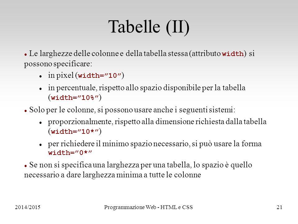 2014/2015Programmazione Web - HTML e CSS21 Tabelle (II) Le larghezze delle colonne e della tabella stessa (attributo width ) si possono specificare: in pixel ( width= 10 ) in percentuale, rispetto allo spazio disponibile per la tabella ( width= 10% ) Solo per le colonne, si possono usare anche i seguenti sistemi: proporzionalmente, rispetto alla dimensione richiesta dalla tabella ( width= 10* ) per richiedere il minimo spazio necessario, si può usare la forma width= 0* Se non si specifica una larghezza per una tabella, lo spazio è quello necessario a dare larghezza minima a tutte le colonne
