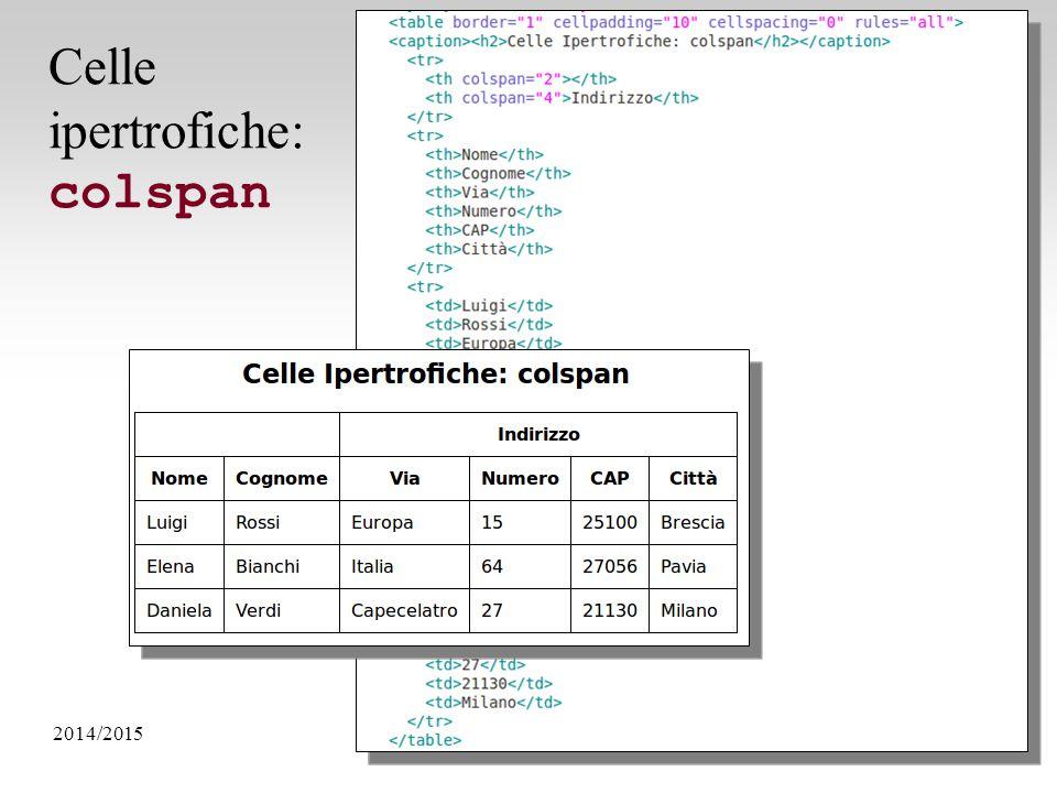 2014/2015Programmazione Web - HTML e CSS32 Celle ipertrofiche: colspan