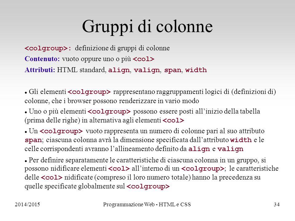 2014/2015Programmazione Web - HTML e CSS34 Gruppi di colonne : definizione di gruppi di colonne Contenuto: vuoto oppure uno o più Attributi: HTML standard, align, valign, span, width Gli elementi rappresentano raggruppamenti logici di (definizioni di) colonne, che i browser possono renderizzare in vario modo Uno o più elementi possono essere posti all'inizio della tabella (prima delle righe) in alternativa agli elementi Un vuoto rappresenta un numero di colonne pari al suo attributo span ; ciascuna colonna avrà la dimensione specificata dall'attributo width e le celle corrispondenti avranno l'allineamento definito da align e valign Per definire separatamente le caratteristiche di ciascuna colonna in un gruppo, si possono nidificare elementi all'interno di un ; le caratteristiche delle nidificate (compreso il loro numero totale) hanno la precedenza su quelle specificate globalmente sul