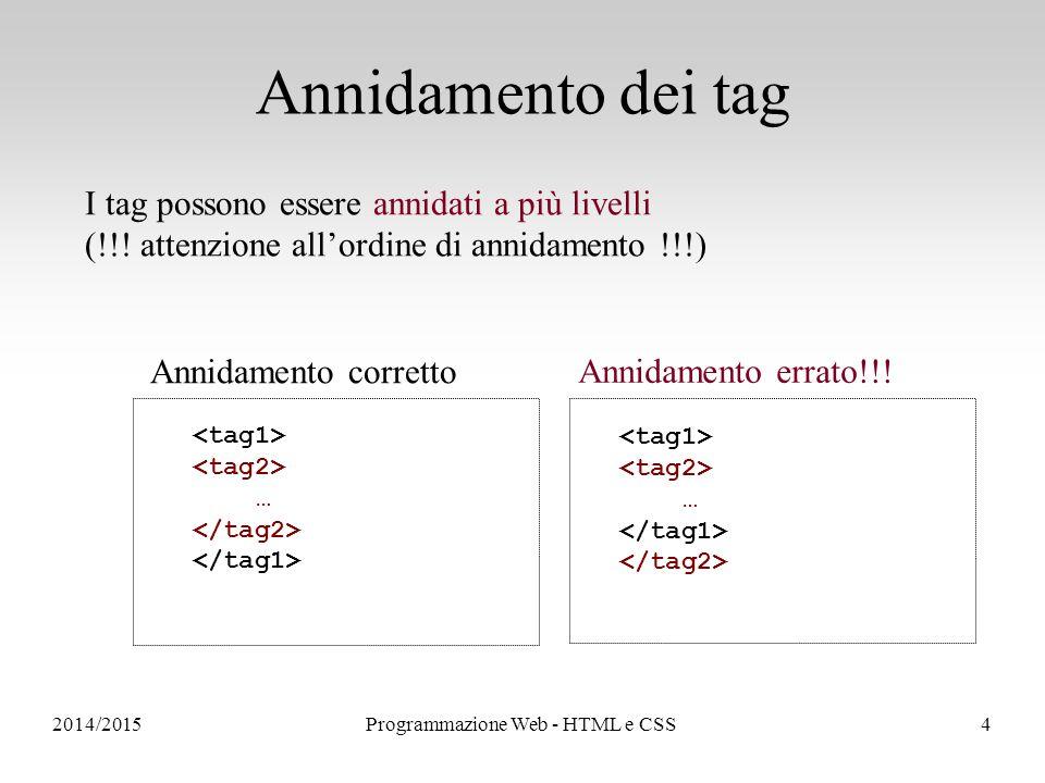 2014/2015Programmazione Web - HTML e CSS4 Annidamento dei tag I tag possono essere annidati a più livelli (!!.
